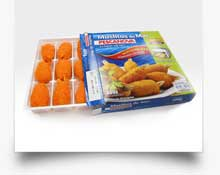 packaging of frozen food and breaded products